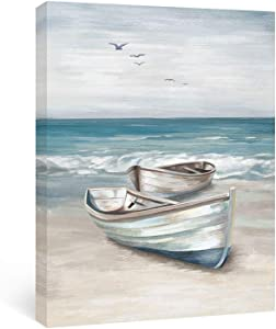 Adecuado Ocean Wall Art Sea Canvas Paintings Beach Picture Boat Artwork Framed Prints Seaside Home Decor Ready to Hang for Bathroom Living Room Bedroom Kitchen 12x16 Inch
