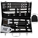 ROMANTICIST 20pc Grill BBQ Tools Set w/ Non Slip Handle in Gift Box for Men Dad - Heavy Duty Stainless Steel Barbecue Accessories Set in Aluminum Case - Premium Camping Accessories for Backyard Barbecue Taigating Outdoor