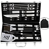 ROMANTICIST 20pc BBQ Grill Accessories Set with Non-Slip Handle in Gift Box - Heavy Duty Stainless Steel Barbecue Grilling Utensils in Aluminum Case - Perfect Christmas BBQ Gift Set for Men Women