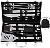 ROMANTICIST 20pc BBQ Grill Accessories Set with Grill Apron - Heavy Duty Stainless Steel Barbecue Grilling Utensils with Non-slip Handle in Aluminum Storage Case - Father Day BBQ Gift Set for Men