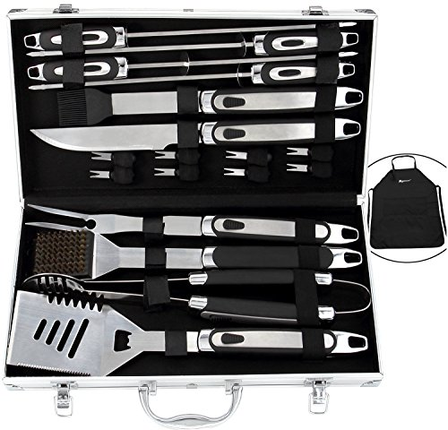 ROMANTICIST 20pc BBQ Grill Accessories Set with Grill Apron - Heavy Duty Stainless Steel Barbecue Grilling Utensils with Non-Slip Handle in Aluminum Storage Case - Father Day BBQ Gift Set for Men by ROMANTICIST
