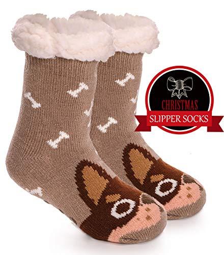 Girls Boys Slipper Socks Fuzzy Warm Thick Soft Heavy Fleece lined Winter Socks Christmas Stockings For Child Kid Toddler (Dog, 5-9Y) ()