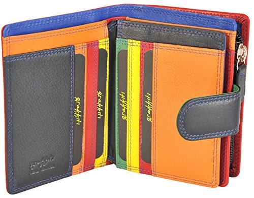 Graffiti Damen klein Leder mehrfarbig Portemonnaie 7179 - schwarz tropisch, Small Mitternachtsblau