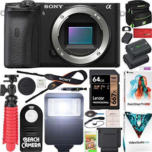 Sony a6600 Mirrorless Camera 4K APS-C Body Only Interchangeable Lens Camera ILCE-6600B with Deco Gear Case + Extra Battery + Flash + Wireless Remote + 64GB Memory Card + Software + Accessories Bundle