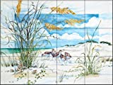 Ceramic Tile Mural - Sandpiper Dunes - by Paul Brent - Kitchen backsplash / Bathroom shower