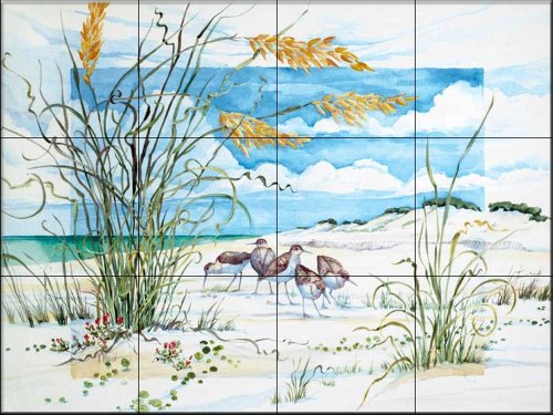 Ceramic Tile Mural - Sandpiper Dunes - by Paul Brent - Kitchen backsplash / Bathroom shower by The Tile Mural Store