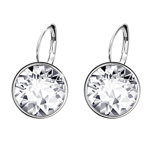 Earrings Bella Swarovski Pierced (Xuping Mother's Day Sparkle Hoop Earrings Crystals from Swarovski Women Girl Party Jewelry Elegant Mom Gifts M15-M17 (Crystal White))