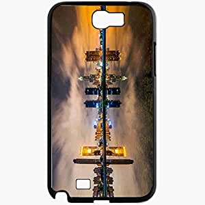 Unique Design Fashion Protective Back Cover For Samsung Galaxy Note 2 Case Buildings Night Skyscrapers Lights Reflection Black