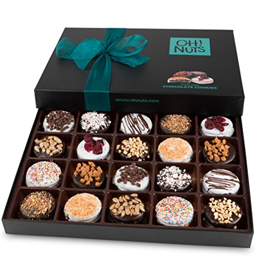 Oh! Nuts Chocolate Covered Cookie Gift Baskets, 20 Variety Gourmet Assortment Set Holiday Food Sandwich Cookies, Prime Christmas Elegant Box Gifts, Thanksgiving Valentines Fathers & Mothers Day ()