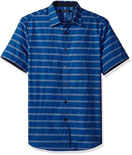AXIST Men's Horizontal Yarn Dye Stripe Shirt, Insignia Blue, Small (Stripe Yarn Dye Shirt Woven)
