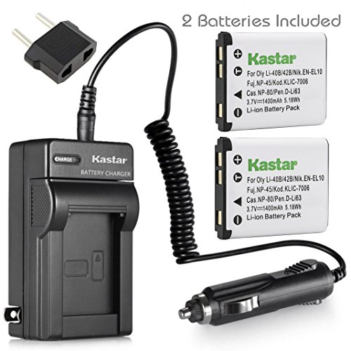 (Kastar Battery 2-Pack + Charger for Fujifilm NP-45 NP-45A NP-45B NP-45S and Fujifilm FinePix XP20 XP22 XP30 XP50 XP60 XP70 XP80 XP90 XP120 T350 T360 T400 T500 T510 T550 T560)