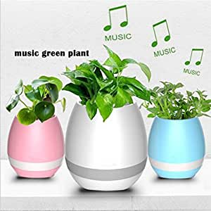 Música de la maceta, planta táctil Altavoz Bluetooth inalámbrico música de piano Playing maceta y Smart Multi Color LED luz redonda macetas (Whitout plantas), azul