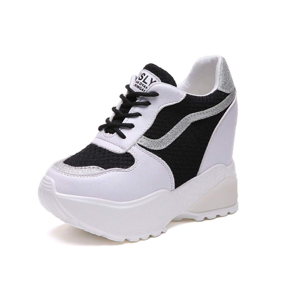 7fb6c0b1bd41d Amazon.com: U-MAC Womens Wedge Sneakers Breathable Mesh Silver ...
