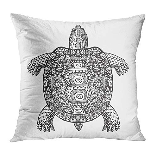Peyqigo Throw Pillow Cover 16x16 Inch Tortoise Turtle Ethnic Graphic Style Patterns Totem Animal Desert Dinosaur Polyester Square Cushion Bedroom Couch Sofa Car Decorative Pillowcase