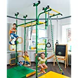 Final sale! PEGAS - Children's indoor home gym (swedish wall) - Playground Set for Kids with gymnastic ladder, horizontal bar moving, gymnastic rings, trapeze, rope, horizontal bars, hole snake, shield basketball, swing. Suit for Gyms, Schools and Kids room