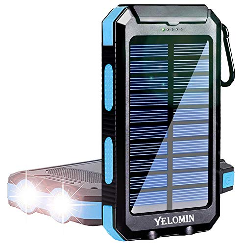 Solar Power Bank, YELOMIN 20000mAh Portable Solar Charger, Waterproof Backup Battery Pack with Dual USB 5V Outputs/LED Flashlights and Compass for Cellphones, Tablets and Electronic Devices