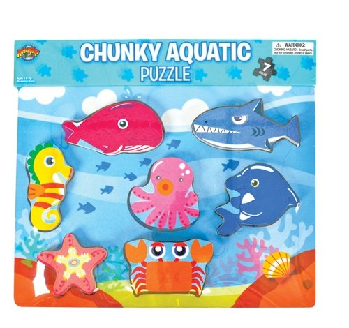7 PC AQUATIC THEME CHUNKY PUZZLE, Case of 24