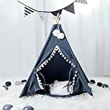 Wonder Space Pet Teepee House - 28 Inch 5-Pole Grey Canvas Tent with Pom Pom Opening, Comes with Cushion &Free Hangings & Name Blackboard, Elegant Cat Dog Puppy Snuggle Bed Furniture (White Poms Edge)