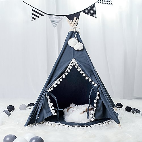 Wonder Space Pet Teepee House – 28 Inch 5-Pole Grey Canvas Tent with Pom Pom Opening, Comes with Cushion Free Hangings Name Blackboard, Elegant Cat Dog Puppy Snuggle Bed Furniture