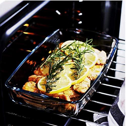 Plat de cuisson, cuisson Bowl, Plateau de cuisson double-Eared rectangulaire en verre Four à micro-ondes Lave-vaisselle spéciale (2 pièces) 8bayfa