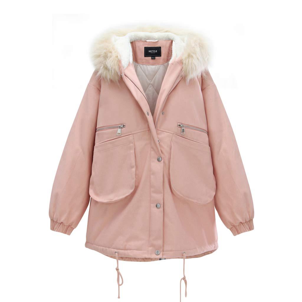 rose Medium Manteaux et Blousons Coton Rose LÂche Long Coton De Mode Coton, Coton De Haute Qualité Col De Fourrure, Amovible (Couleur   rose, Taille   M)
