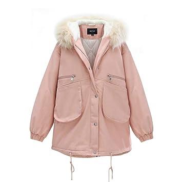Abrigos Chaqueta Rosa para Mujer Invierno Nueva Mujer Algodón Suelto Algodón Largo Suelto Moda, Cuello De Piel, Desmontable (Color : Pink, ...
