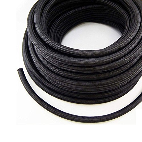 - Stainless Steel Braided Fuel Line Hose 10FEET (Black, AN6)