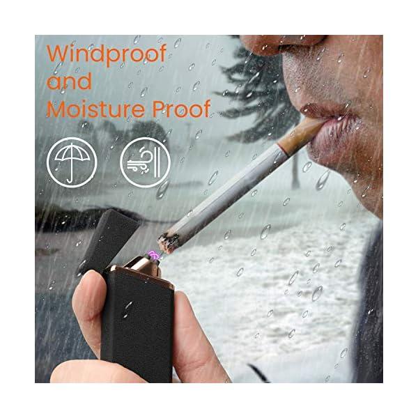Ommani Encendedor Electrico, USB Encendedor de Doble Arco Recargable con Indicación de Batería, ARC Encendedor… 4