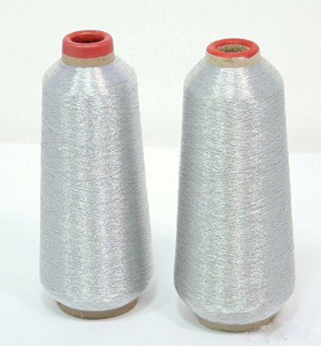 Beenlen Metallic Silver Color 3600 Yards Polyester Sewing Thread Spools for (Floriani Embroidery Software)