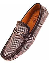 Amali Mens Classic Black, White and Red Glen Plaid Print with Smooth Black Trim Driving Moccasin Loafer with Silver...