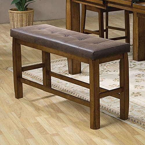 ACME Morrison Counter Height Bench w/Storage, Brown PU & Oak Contemporary/Casual/Brown PU & Oak/