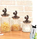 Gift Included- Country Farmhouse Kitchen Rooster Glass and Ceramic Canisters Set of 3 + FREE Bonus Water Bottle by Home Cricket
