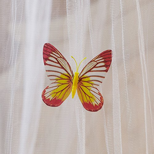 SINOTOP Round mosquito nets Luxury Princess Pastoral Lace Bed Canopy Net Crib Luminous butterfly (white)