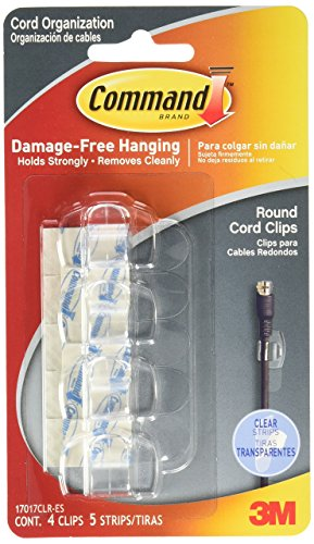 Command Round Cord Clips, Clear, 4-Clips (17017CLRES)