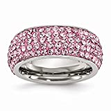 Best Birthday Gift Stainless Steel Pink Crystal 9mm Eternity Size 9 Ring