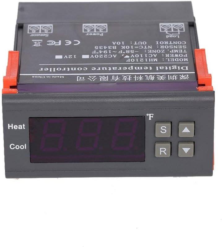 Temperature Controller, KKmoon Digital Temperature Controller Thermocouple with Sensor (-58~194°F) 10A 110V