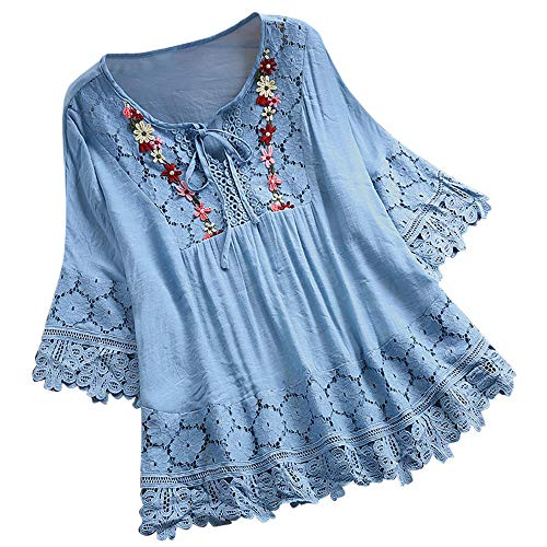 Women's Summer Vintage Lace Patchwork Blouses Jebess Casual T-Shirt V-Neck Three Quarter Loose Tunic Tops Sky Blue