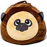 Roomganize Extra Large Stuffed Toy Bean Bag Chair and Soft Toy Storage Bag with a Circumference of About 100 Inches When Filled Full of Plushies (Pug)