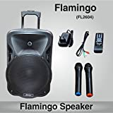 Persang Karaoke Flamingo Portable Speaker 12 Inch With 2 Wireless Microphone Music System Set / FM Radio / USB / Audio Input / Rechargeable Battery