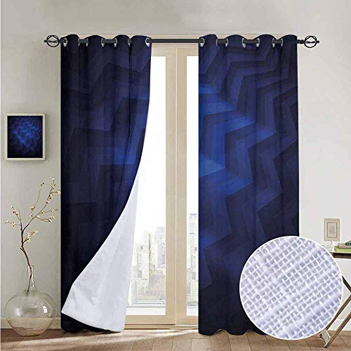NUOMANAN Customized Curtains Dark Blue,Chevron Zigzag Stripes,Blackout Thermal Insulated,Grommet Curtain Panel 1 Pair120 x96