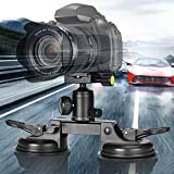 Heavy Duty DSLR Camera Suction Cup Car Mount Professional Camcorder Vehicle Holder w/Quick Release 360°Panorama Ball Head Compatible with Nikon Canon Sony Mirorrless for Hi-Speed Motion Photography