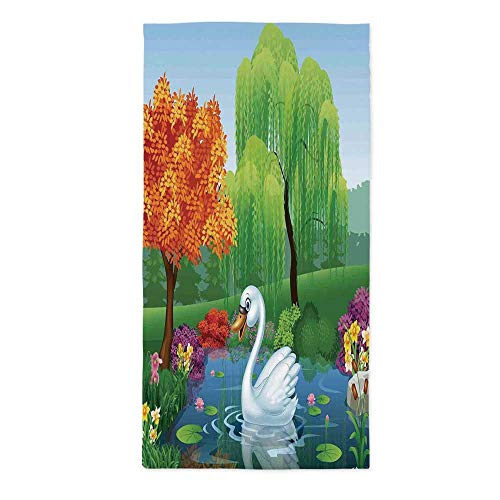 48' River Float - Cartoon Waterproof Tablecloth,Artwork of a Swan Floats on Mountain River in The Vivid Nature Springtime for Dining Table Tea Table Desk Secretaire,24''W X 48''L