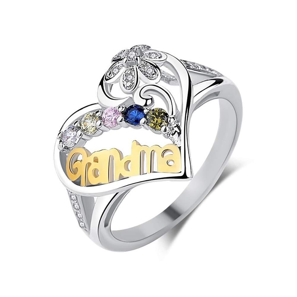 Alamana Grandma Jewelry Birthday Gift Letter Hollow Love Heart Rhinestone Finger Ring Silver US 10