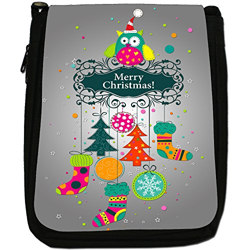 Black Shoulder Decorations Wears Decoration Santa Christmas Canvas Bag Merry Size Medium Owl Hat fFtXwRfnq