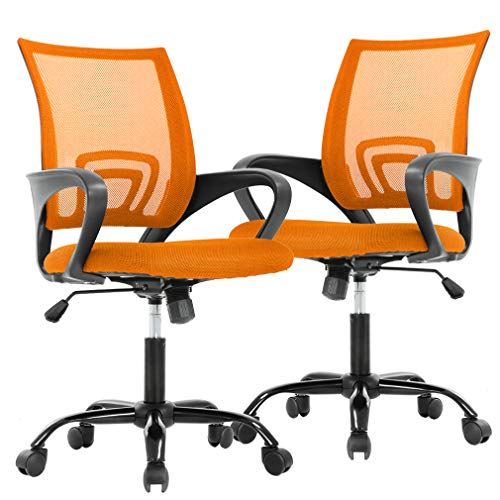 BestOffice Ergonomic Desk Mesh Computer Lumbar Support Modern Executive Adjustable Comfortable Mid Back Task Rolling Swivel Chair for Home Office,2 Pack, Orange