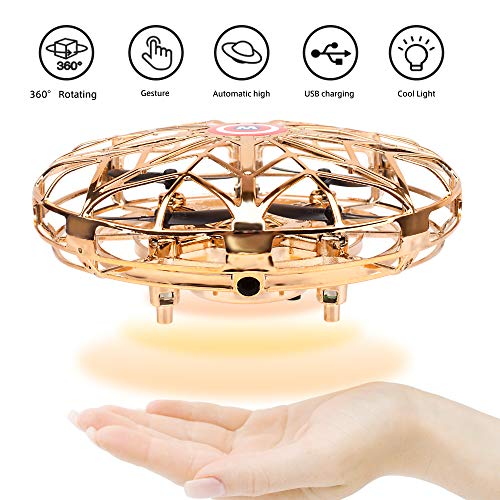 FCONEGY UFO Toys Gravity Defying Drone Hand-Controlled Suspension Helicopter Flyer Toy Airplane Infrared Induction with LED Lights Kids Adults Toy Gift,Gold