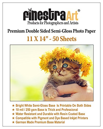 Premium Double Sided Photo Paper - 11x14 50 Sheets Premium Double Sided Semi Gloss Photo Paper 250GSM