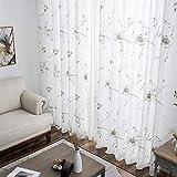 IMSHI Embroidered Sheer Window Flower Design Grommet Curtains - Window Voile Panels/Drape/Treatment for Bedroom Living Room Flower 100250/140260