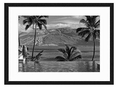 four-seasons-hotel-wailea-maui-hawaii-art-print-wall-solid-wood-framed-picture-black-white-20x14-inc