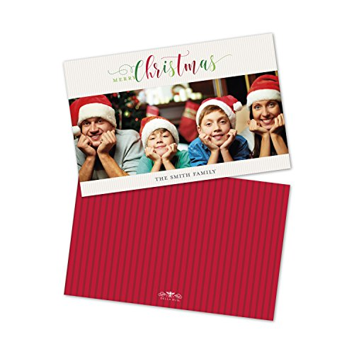 Personalized Holiday Christmas Scripts Photo Flat -